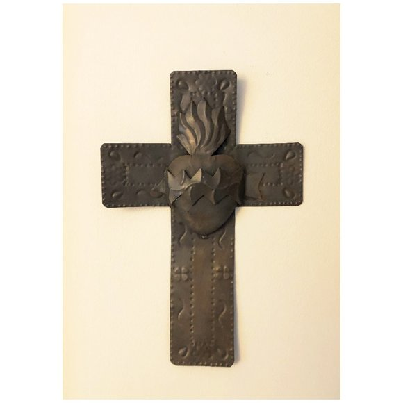 Mexican stamped tin cross with heart
